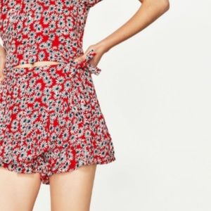 Zara Red Floral Wrap Skirt